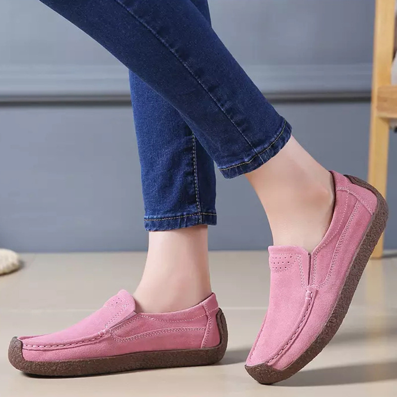 UVWP Moccasins Driving-Loafers Suede-Flats Flat-Shoes Slip-On Women Ladies 100%Natural-Leather
