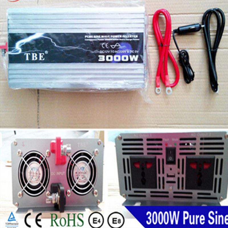 Peak Power 6000W Solar Inverter 3000W Pure Sine Wave Car Power Inverter DC 12V to AC 220V Car Auto Power Converter