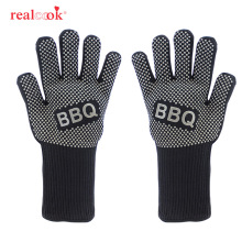 Realcook Жаростойкие Прихватки для барбекю перчатки для гриля толстые силиконовые противоскользящие перчатки для приготовления пищи для защиты кухни