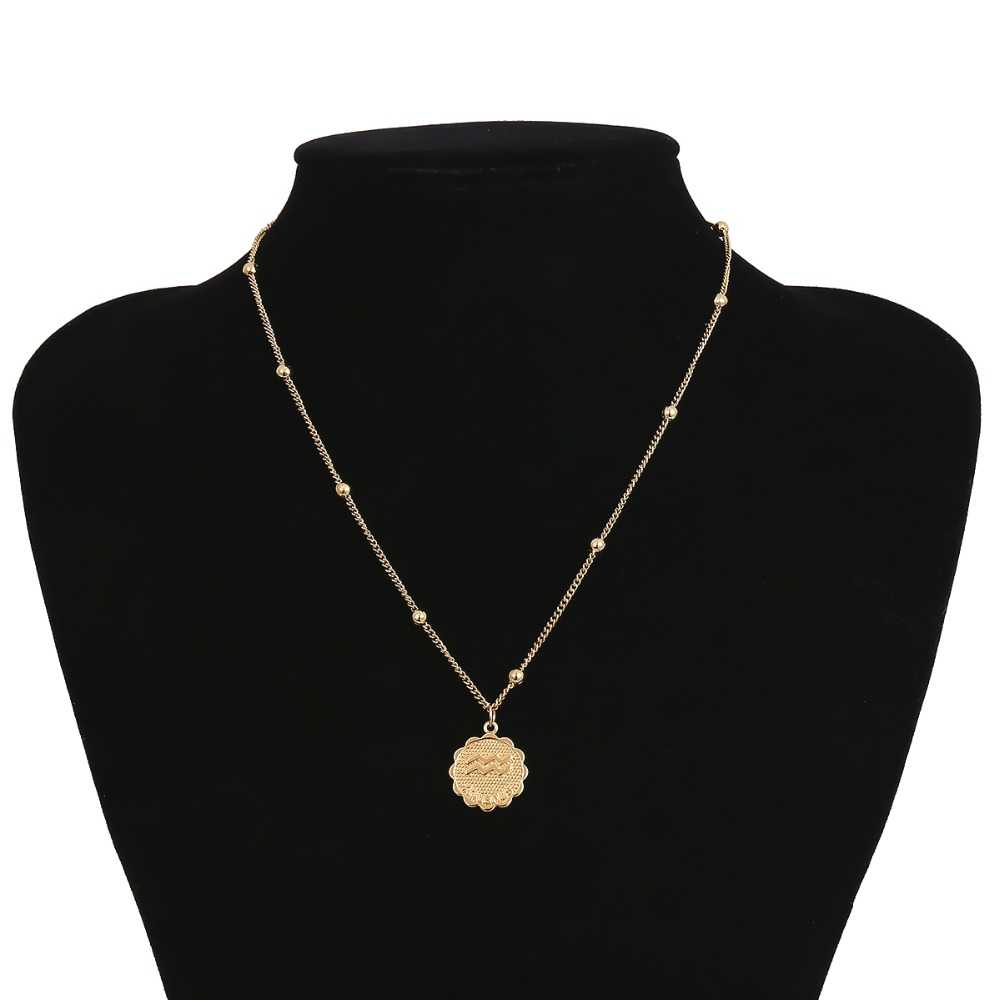 Carved Coin Pendant  Women Jewelry Twelve Constellations Long Chain Necklace