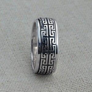 Image 3 - Prawdziwe srebro pierścień 925 Sterling srebrny pierścień mężczyzna kobiet S925 pierścień obracać się w stylu Vintage pierścień biżuteria prezent Great Wall ruchome S925 opaska pierścieniowa