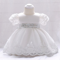 2018 Baby Girl Dress Newborn Christening Gowns Sequins Bow Infant Princess Wedding Dresses First Birthday Baby Party Clothes