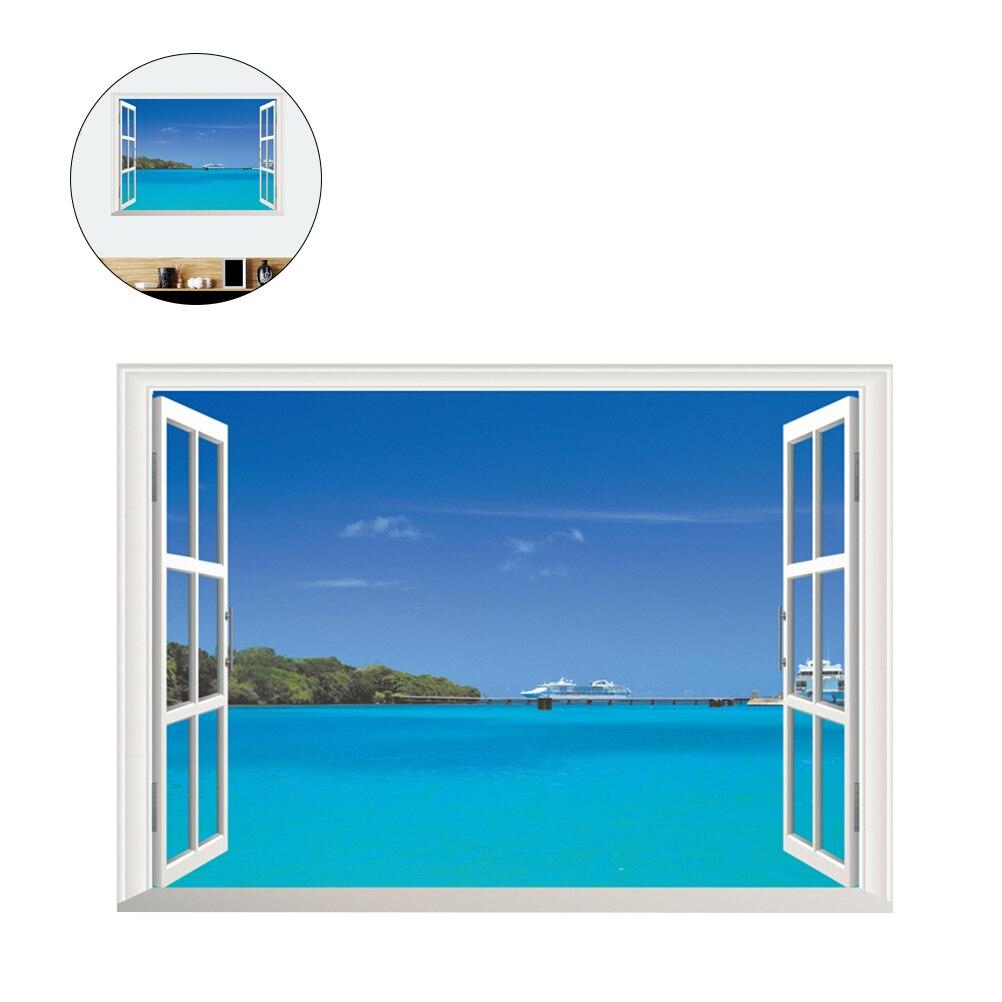 3d Diy デカールハワイシービュービーチ窓の壁のステッカー粘着壁紙の