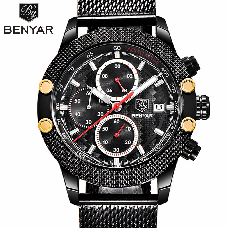 Relogio Masculino Luxury Brand BENYAR Sport Chronograph Watches Men Mesh Band Multifunction Waterproof Quartz Watch dropshipping reef tiger brand men s luxury swiss sport watches silicone quartz super grand chronograph super bright watch relogio masculino