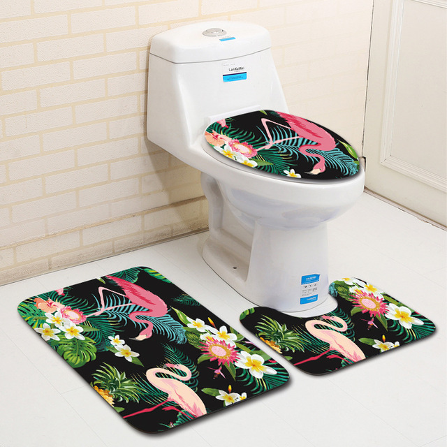 Honlaker Flamingo Series Bathroom Toilet Mat Shower Room Decoration Bath Sets 3 Piece Non