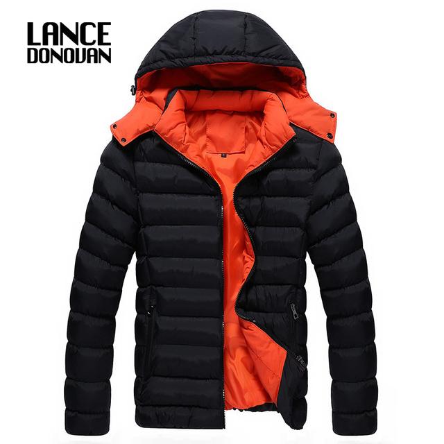 2015 de Invierno chaqueta Abajo y Parkas para los hombres tapa Desmontable de alta calidad térmica hombre engrosamiento informal de algodón acolchado