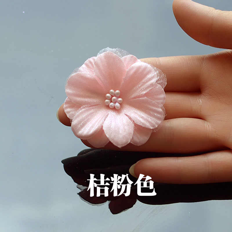 1 pc Kain 3D 6-kelopak Bunga Bead Inti Applique Bride Wedding Dress Aksesoris Deco 8415c