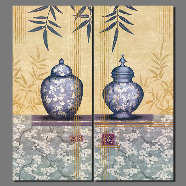 Retro 2pcs Chinese still life pictures decoration Plum flowers ...