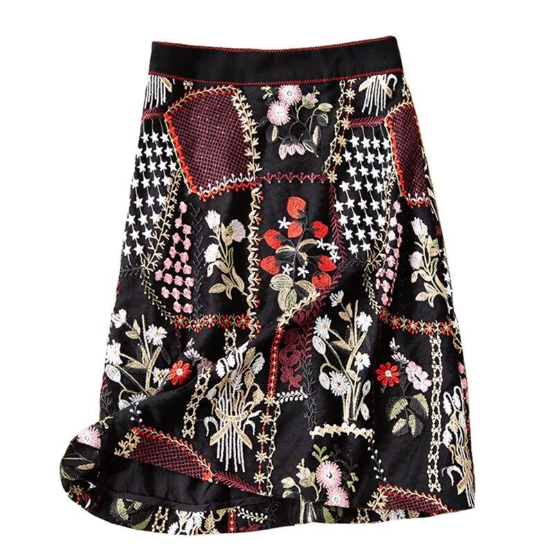 Bordado Floral Elegante Vintage La Moda De Gasa Negro Falda Alta Roosarose Mujeres 2019 Rojo Pista Mini Faldas Las Calidad WZgf6qv