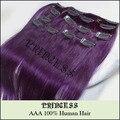 """15 """" 20 """" 22 """" Remy cabelo clipes retas em extensões de 7 pçs/set 75 g # roxo"""