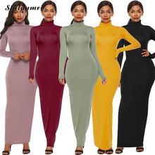 Sexy Women Bandage Long Dress 2019 Autumn Turtleneck Slim Sleeve Bodycon Fashion High Neck Party Clubwear