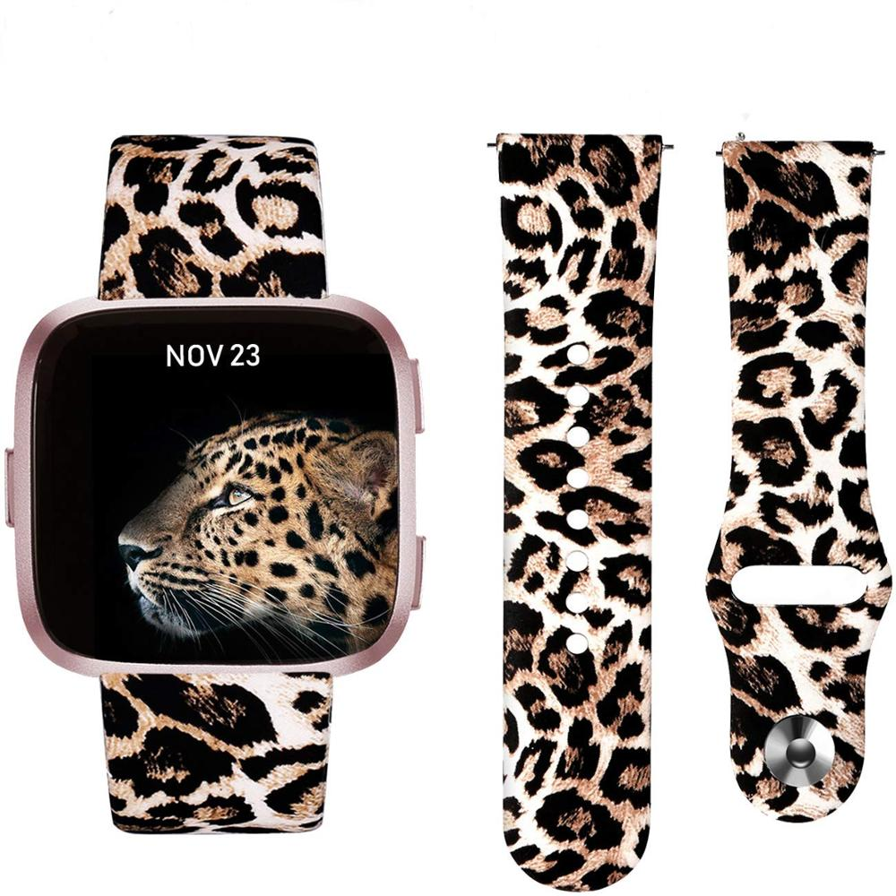 Fitbit Versa Band, Floral Leopard Silicone Printed Replacement Band Strap Bracelet Wristband Watchbands For Fitbit Versa