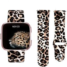Fitbit Versa Band, Floral Leopard Silicone Printed Replacement Band Strap Bracelet Wristband Watchbands For