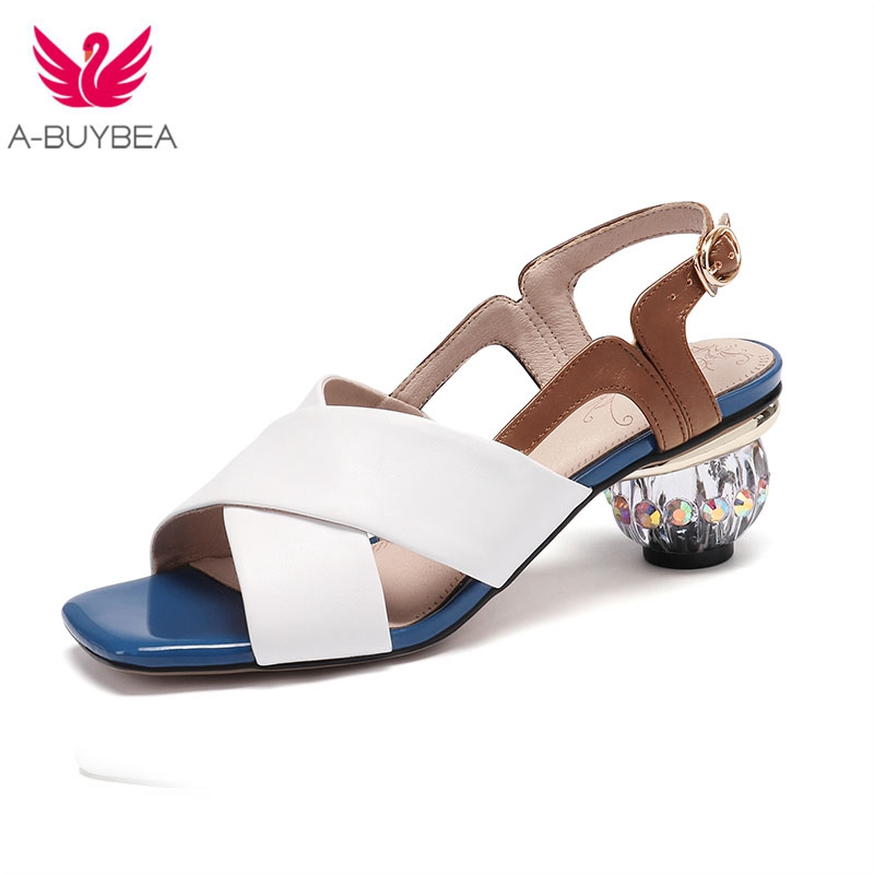 Real Leather Women Crystal Heels Sandals Peep Toe Buckle Ladies Summer Shoes Strange Heels Gladiator Female Party Shoes Real Leather Women Crystal Heels Sandals Peep Toe Buckle Ladies Summer Shoes Strange Heels Gladiator Female Party Shoes