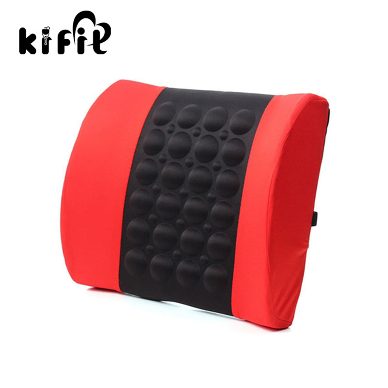 KIFIT Convenient 4 Colors Car Back Lumbar Posture Support Electrical Massage Cushion Pillow 12V Health Care Tool car electric massage cushion lumbar posture support cushion pillow red black