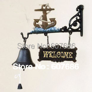 CAST IRON Ships Anchor WELCOME Dinner Bell Hanging Wall Mounted Garden Patio Ship Boat Anchor Bell Nautical Seashore Free Ship