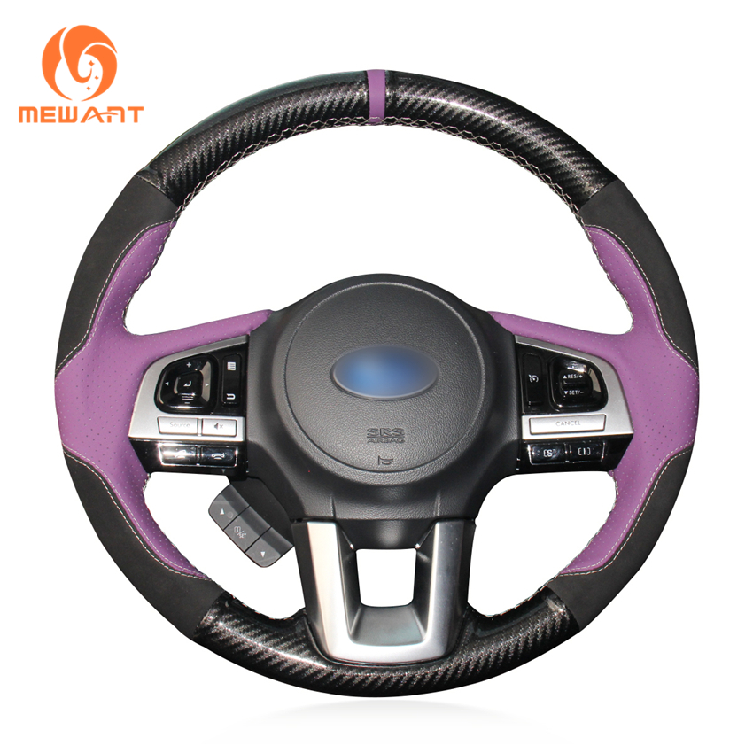 MEWANT Purple Leather Black Suede PU Carbon Fiber Steering Wheel Cover for Subaru Legacy 2016 Outback 2015 2016 XV Forester 2016 top cowhide sew on all black genuine leather steering wheel cover for subaru forester at