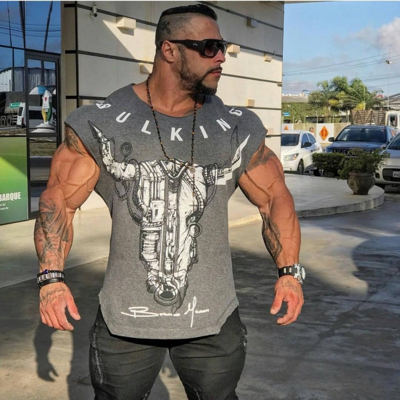 BULKING Brand Men cotton t shirts fashion Casual gyms Fitness workout Short sleeves tees 2018 summer new male tops clothing