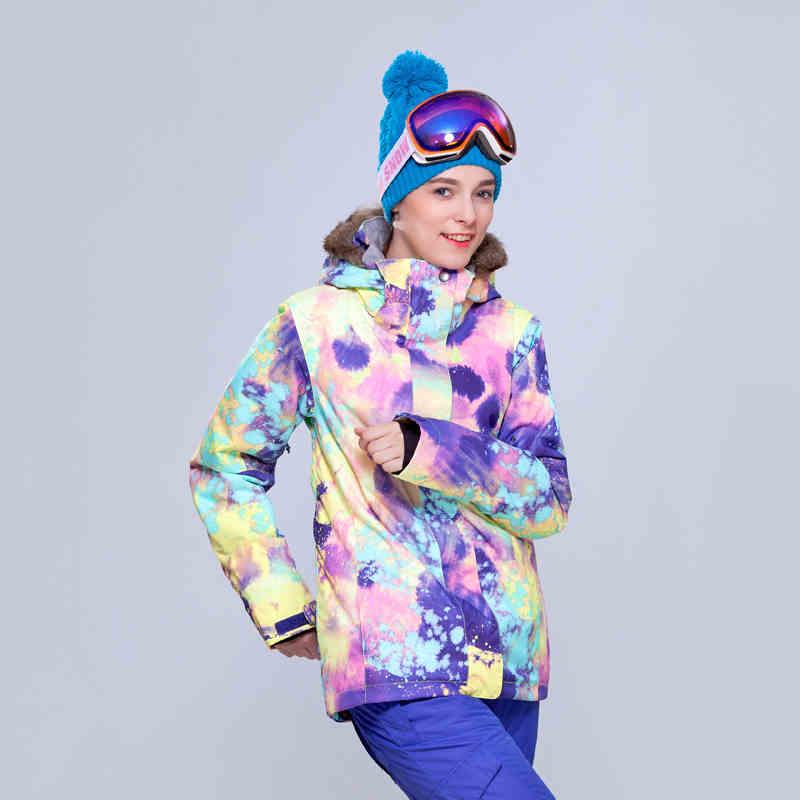 Prix pour Gsou Snow Femmes vestes de ski de Sports de Plein Air Snowboard Combinaison De Ski Escalade manteau Chaud Vêtements Imperméable et Respirante Col De Fourrure