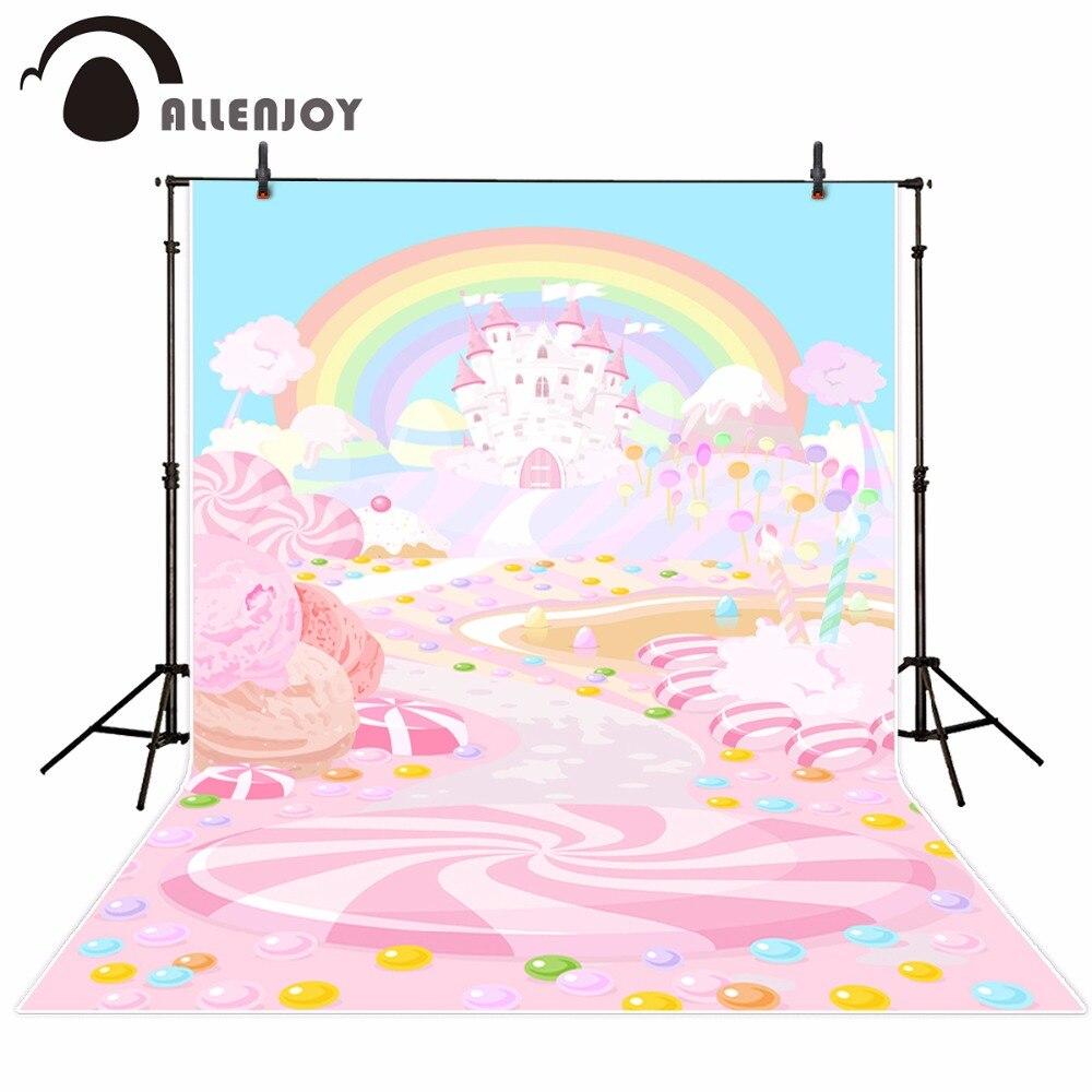 Allenjoy-Fotohintergrund photocall rosa Süßigkeitsschloßbabyregenbogen-Fotografiehintergrund für Fotostudio schießt Fotophonvinyl