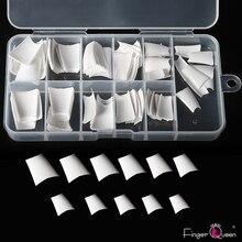 FingerQueen 100 шт+ коробка балерина половина искусственные ногти/прозрачный гроб накладные ногти ABS искусственная DIY подделка УФ гель для ногтей