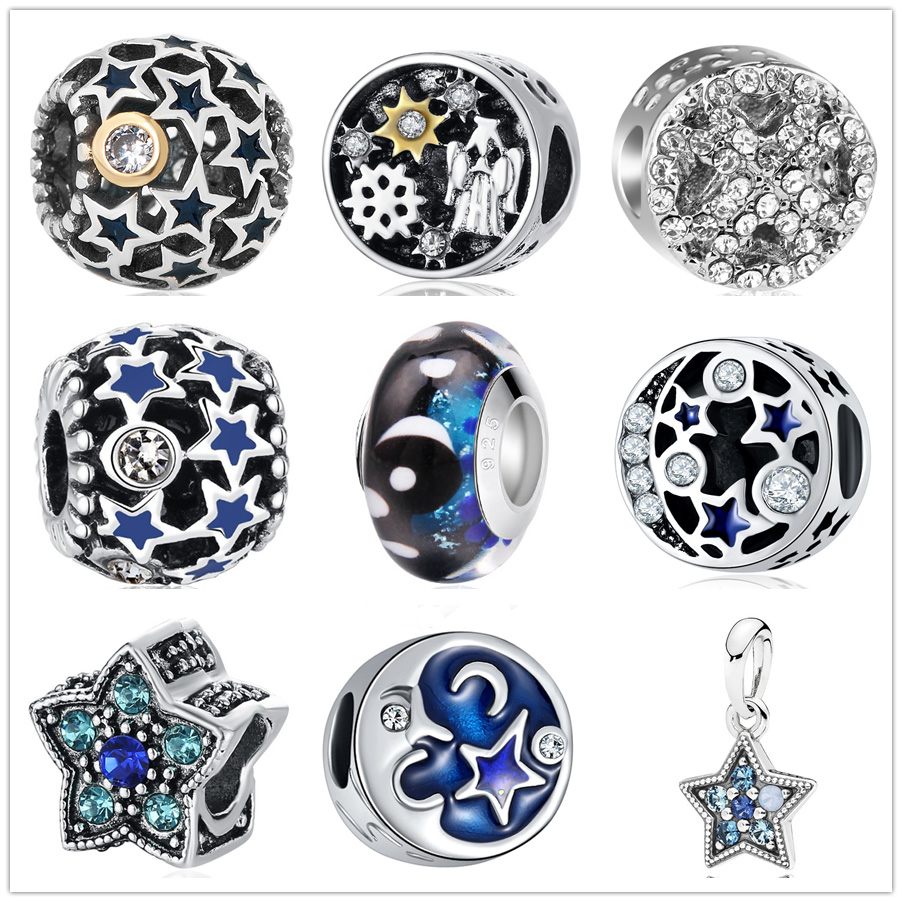Jewelry & Accessories Beads & Jewelry Making Starry Night Sky Charm Murano Glass&clear Cz Bead Fit Original Pandora Charms Silver Bracelet For Women Jewelry Diy Making Gifts