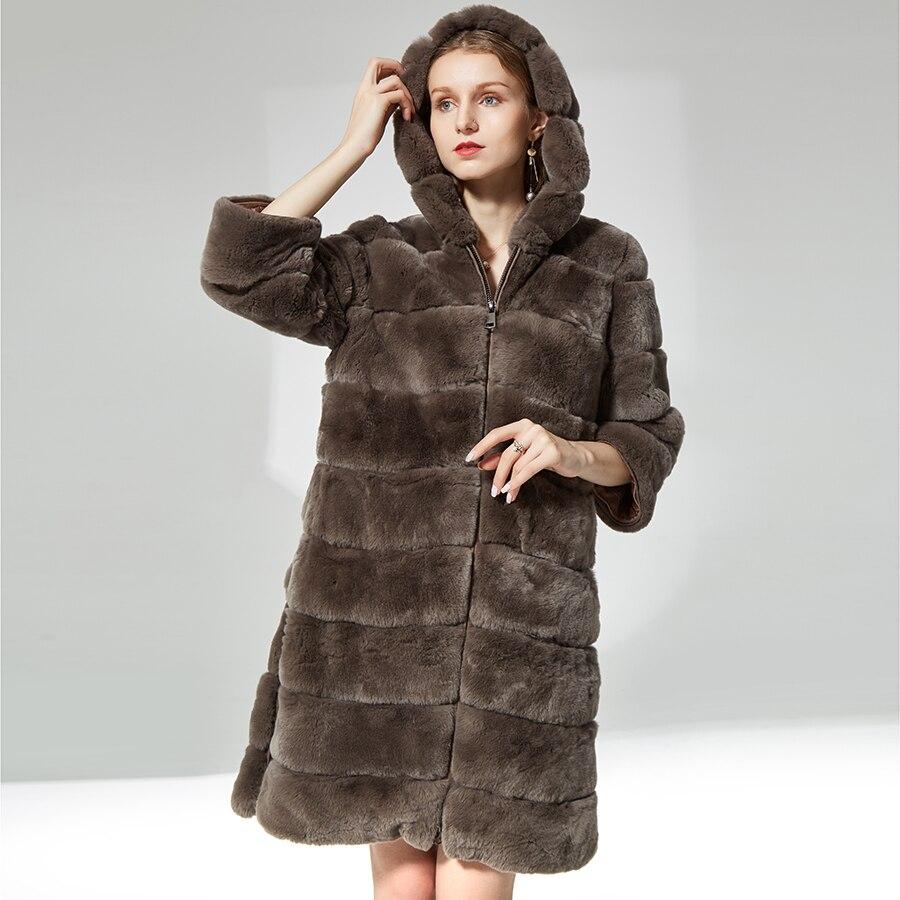 Lapin manteau de fourrure zipper avec capuchon de fourrure Épaisse chaud doux Manteau De Fourrure Vêtements pour femmes naturel réel rex de fourrure de lapin manteau long