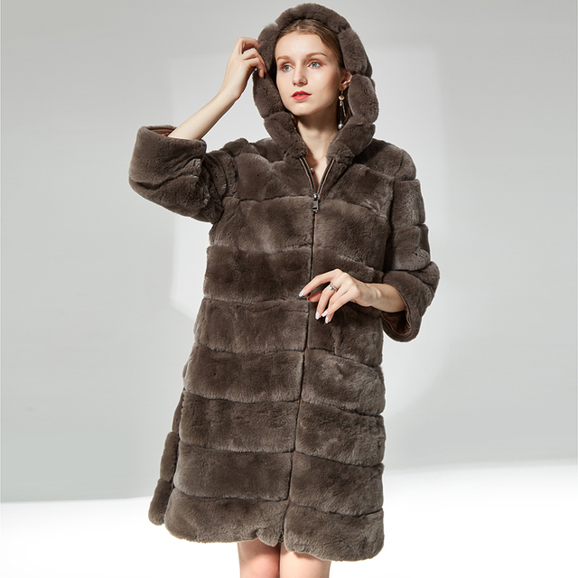 Rabbit fur coat zipper with fur hood Thick warm soft Fur Overcoat Clothing for women  natural real rex rabbit fur coat long