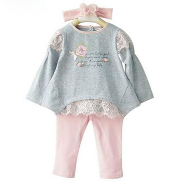 2016 New Spring Baby Girl Clothing Set 3 PCS Cotton Sets Headband+T shirts+Leggings  Casual Floral Lace Infant Clothes