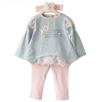 2016 New Spring Baby Girl Clothing Set 3 PCS Cotton Sets Headband T Shirts Leggings Casual