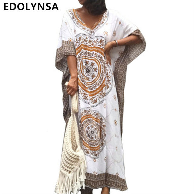af722c9913dc7 US $12.99 40% OFF|Women Summer Beach Dress Cotton Ethnic Print Kaftan Maxi  Dress 2019 Summer Loose Vintage Boho Beach Long Dress Vestidos #N393-in ...