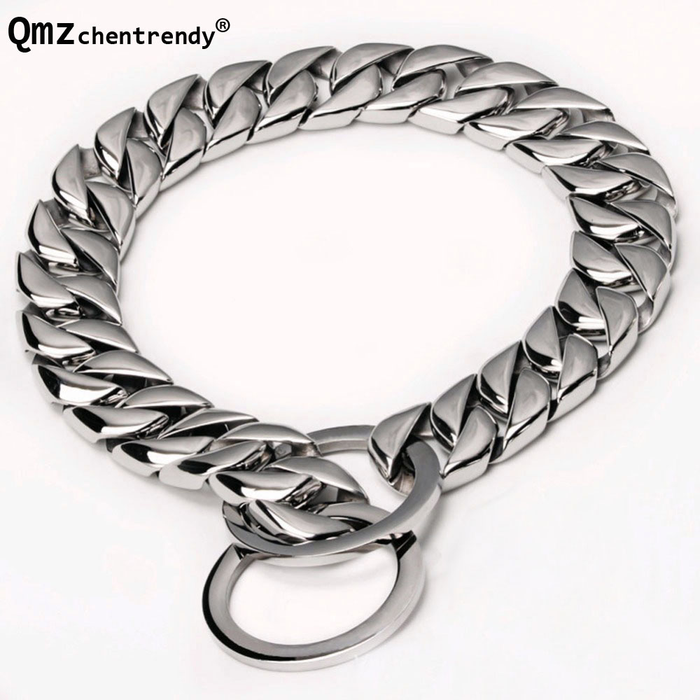 Top Quality 15mm wide 12-34 inch Double Curb Cuban Rombo Dog Chain Necklace 316L Stainless Steel Dog Pet Chain Collar Choker cropped wide sleeve top