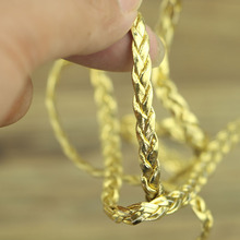 New 10/lot Golden Silk Lace Trim For Garment Accessories Decoration Sew On Guipure Lace Fabric GOLD CORD   Flat rope