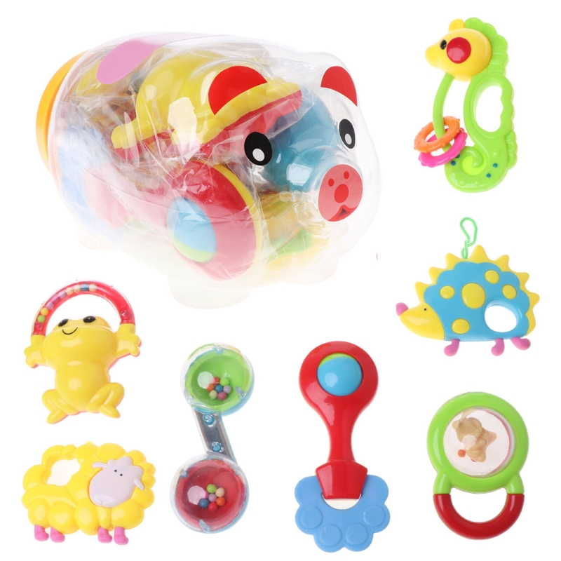 7PCS Baby Rattles And Teether Set Mobile Educational Toys For Newborns Brinquedo