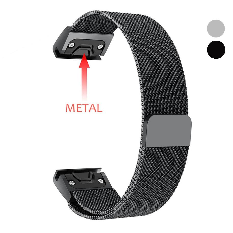 Cinturino per Garmin Fenix 3/HR/5X/5 s 20mm 22mm 26mm Easy Fit milanese A Sgancio Rapido Band Magnet Cinturino Da Polso Della Cinghia Del Braccialetto