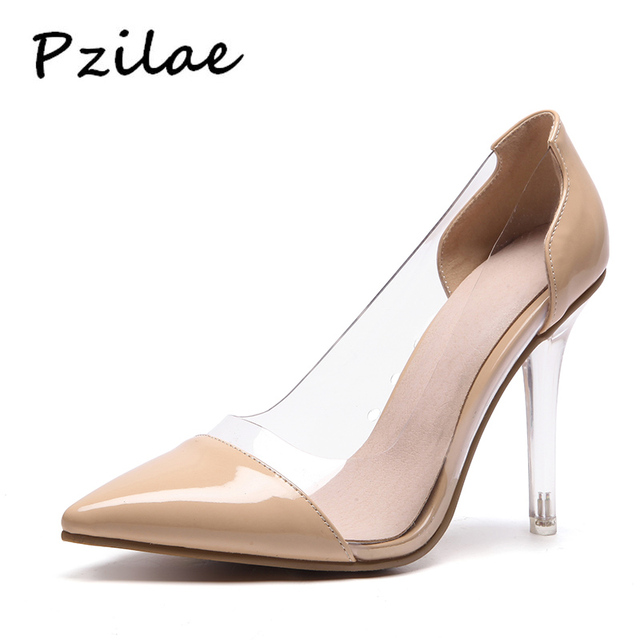 485f4f4530a Pzilae 2018 new woman pumps patent leather pointed toe transparent high  heel shoes lady slip-on sexy party shoes plus size 33-48