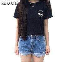 Z KOZE 2016 Summer Alien Pocket Harajuku Cat Lovers Women Tee Top Short Sleeve Emoji T
