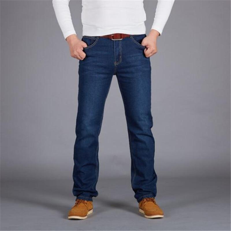 Men's Jeans Business Casual Straight Loose Blue Jeans Stretch Denim Pants Trousers Classic Cowboys Jeans Men Plus Size 46 48 50
