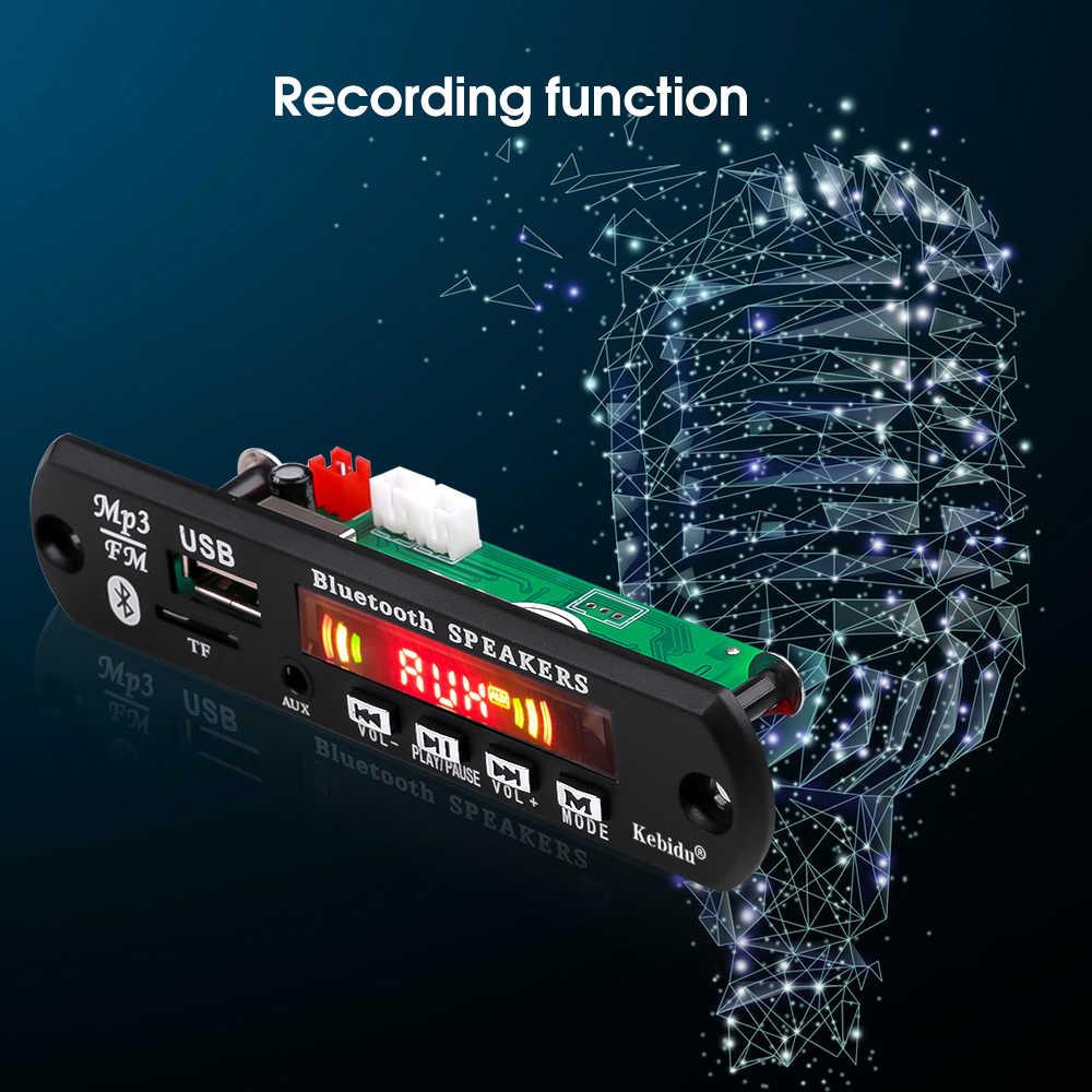 KEBIDU a Mani Libere Lettore MP3 Scheda di Decodifica 5V 12V Bluetooth 5.0 6W amplificatore Auto FM Radio modulo di Sostegno FM TF USB AUX Registratori