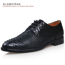 ELANROMAN New Snakeskin Fashion men's luxury Full Python Leather Business Oxfords Shoes Black High Quality Lace-up Dress Shoes