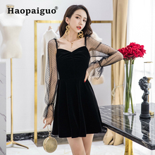 Plus Size Black Lace Dress Women V-neck Long Sleeve Slim Casual Elegant Dress Women Solid A-Line Mini Velvet Party Dress Ladies все цены
