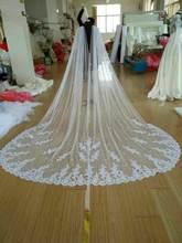 Nieuwe Kathedraal Lengte Bridal Cape Mantel Kant Lange Trouwjurk Accessoire In Wit, Gebroken Wit, Ivoor