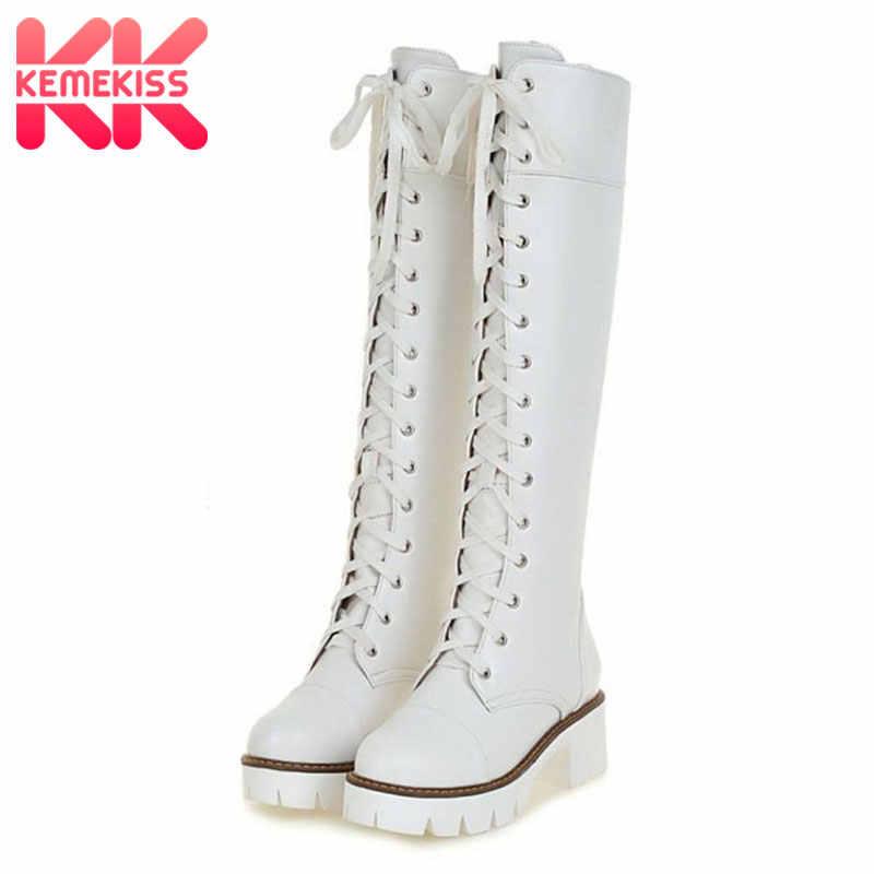 KemeKiss Size 34-43 Vrouwen Lange Laarzen Lace Up Platform Dikke Hakken Vrouw Schoenen Mode Vinatge Lange Botas Dames schoeisel