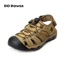Fazer o Dote de Praia Sandálias Homens Respirável Genuíno Sapatos de Couro Frete Grátis