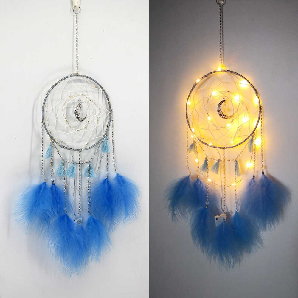 Dream Catcher Diy Home Decoration Handmade Led Lighting Moon Design Feather Craft Hanging Dream Catcher For Kids Girls Room Gift Wind Chimes Hanging Decorations Aliexpress