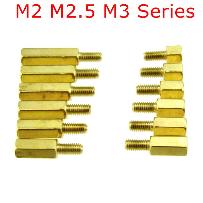 10Pcs M2*L+3mm M2.5/M3*L+6mm Hex head Brass Spacing Screws Threaded Pillar PCB Computer PC Motherboard StandOff Spacer 100pcs lot m3 l 6 brass standoff spacer female male spacing screws nickel plated brass threaded spacer hex spacer bssfmnp m3