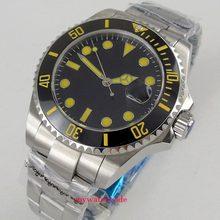 40mm bliger schwarz zifferblatt gelb saphirglas Datum Automatikuhr Uhr herren uhr