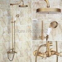 Античный душевой смеситель кран Набор для ванной, с двумя кранами смеситель для душа кран с керамический Ручной душ lrs133