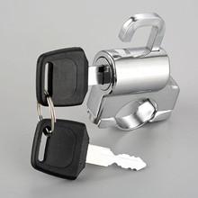 "1Pc Motorcycle Univesal Helmet Lock Bike Hanging Hook Keys Set Chrome 22mm 7/8""  Tube Handlebar bar With Accessories"