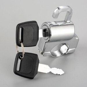 """Image 2 - 1Pc אופנוע Univesal קסדת מנעול אופני תליית וו מפתחות סט כרום 22mm 7/8 """"צינור כידון בר עם אבזרים"""